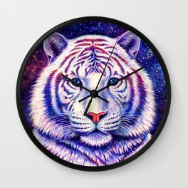 Among the Stars Colorful Cosmic White Tiger Wall Clock