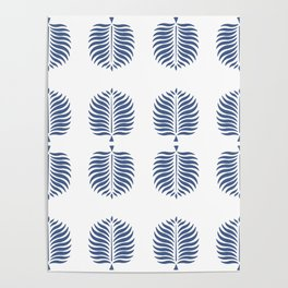 TROPICAL PALMS . WHITE + BLUE Poster