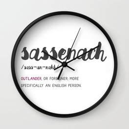 Outlander Sassenach Definition Wall Clock
