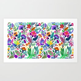 floral pattern with bright colorful flowers and tropic leaves on a white background. Modern floral background. Trendy Folk style. Art Print