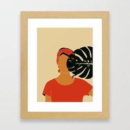 Tropical Reverie - Modern Minimal Illustration 17 - Girl with palm leaf - Tropical Aesthetic - Brown Framed Art Print