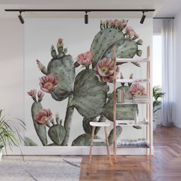 Prickly Pear Cactus Painting Wall Mural