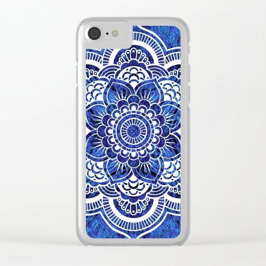 Mandala Blue Colorburst Clear iPhone Case