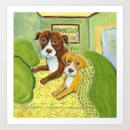 Pitbulls on patterned sheets Art Print