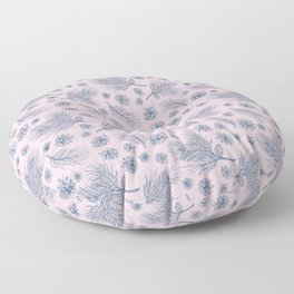 Pine Cones and Pine Branches Pattern (Pink and Blue) Floor Pillow