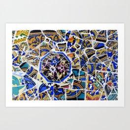 Park Güell detail of tiles Art Print