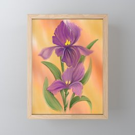 Purple Iris in warm sunshine Framed Mini Art Print