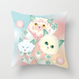 kitten bouquet Throw Pillow
