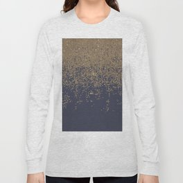 Navy Blue Gold Sparkly Glitter Ombre Long Sleeve T-shirt