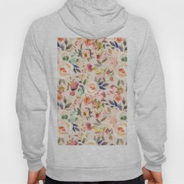 Hand painted ivory pink brown watercolor country floral Hoody