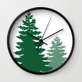 Two Pine Trees Wall Clock