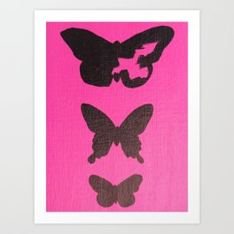 Unfinished Butterfly Silhouette- Hot Pink Art Print