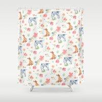 the hound Shower Curtains featuring Fox & Hound by jilln