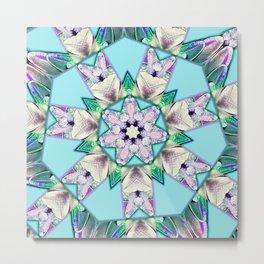 floral star mandala Metal Print