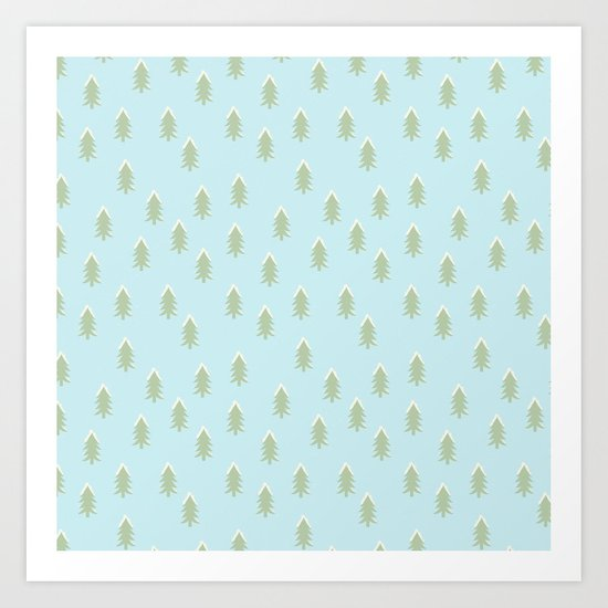Merry christmas- With snow covered x-mas trees pattern on aqua backround Art Print