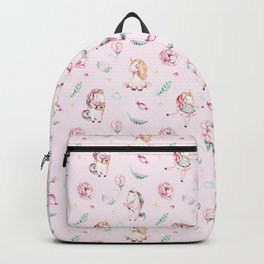Blush pink green magenta watercolor magical unicorn floral Backpack