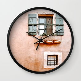 Orange House with Green Windows in Greece, Greek Travel Photography Wall Clock