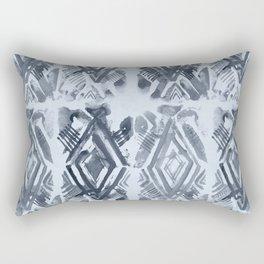 Simply Ikat Ink in Indigo Blue on Sky Blue Rectangular Pillow