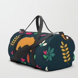 Cute little animals among flowers Duffle Bag