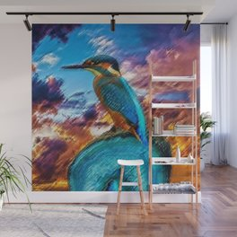 Kingfisher at Sunset on the African Plains Wall Mural