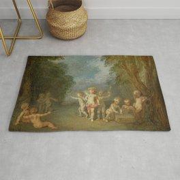 "Antoine Watteau ""Cupid Disarmed (French - L'Amour désarmé)"" Rug"
