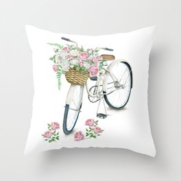 Vintage White Bicycle with English Roses Throw Pillow