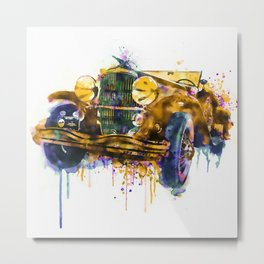 Oldtimer Automobile Watercolor Painting Metal Print