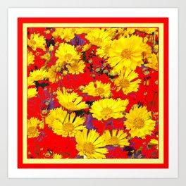 RED  & YELLOW COREOPSIS  FLORAL  ART DESIGN Art Print