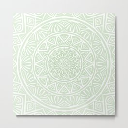 Olive Green Simple Simplistic Mandala Design Ethnic Tribal Pattern Metal Print