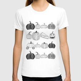 Pumpkin Ink Pattern Black and White T-shirt
