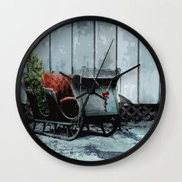 Grungy Christmas Sled and Christmas Tree Digital Watercolor Illustration Wall Clock