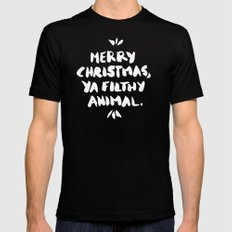 Merry Christmas, Ya Filthy Animal – Red Black SMALL Mens Fitted Tee
