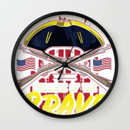 Home of Free Because of Brave Since 1776 American Flag Wall Clock