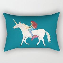 Red Haired Mermaid Rides the Unicorn Rectangular Pillow