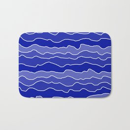 Four Shades of Blue with White Squiggly Lines Bath Mat