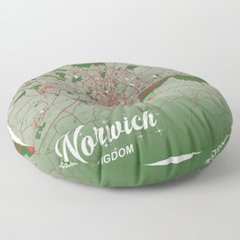 Norwich - United Kingdom Christmas Color City Map Floor Pillow