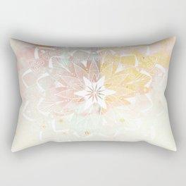 White mandala on pink Rectangular Pillow