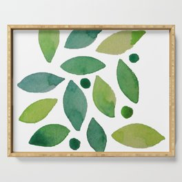 Leaves & berries watercolour Serving Tray