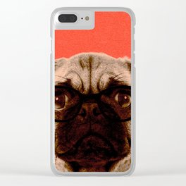 Geek Pug in Red Background Clear iPhone Case