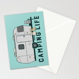 Happy camping life with cute Frenchies Stationery Cards