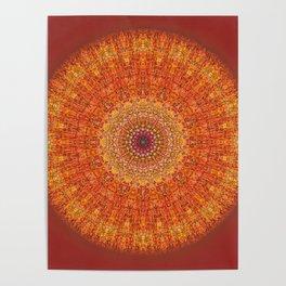 Red Burst Mandala 0118 Poster
