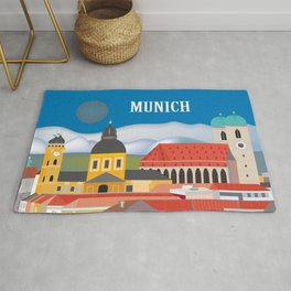 Munich, Germany - Skyline Illustration by Loose Petals Rug