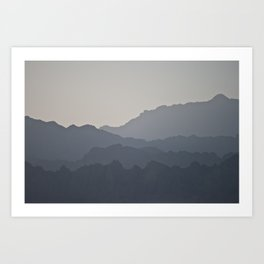 sunset across the peaks Art Print
