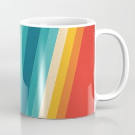 Colorful Retro Stripes  - 70s, 80s Abstract Design Coffee Mug