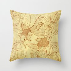Vintage Goldfishes  Throw Pillow