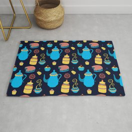 Tea Pot Cake and Coffee Pattern Gift Cute Summer Rug
