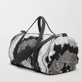 Gray Black White Agate with Silver Glitter #1 #gem #decor #art #society6 Duffle Bag