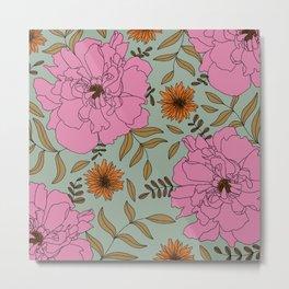 Summer Pink Peony Modern Floral Print in Teal Metal Print