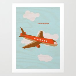 A is for aeroplane Art Print