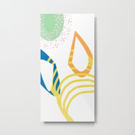 Deep Dive Abstract Summer Print with Floral and Stripe Metal Print